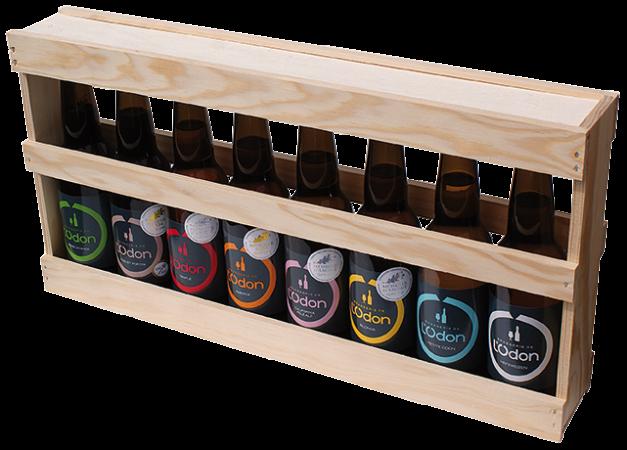 Pack en bois pour 8 bouteilles 33cl de la Brasserie de l'Odon