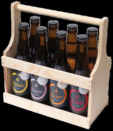 Panier en bois pour 8 bouteilles 33cl de la Brasserie de l'Odon